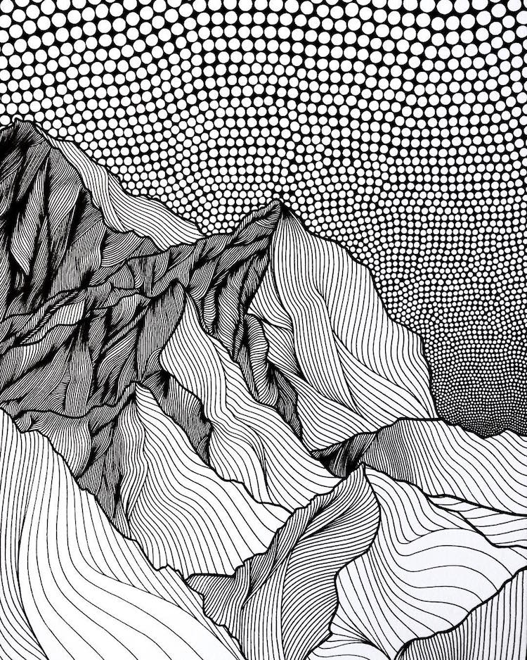 Christa Rijneveld Creates Pen-and-Ink Line Drawings of Mountains