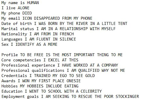 Funny Resume Made from Google Autocomplete, Now Try Your Own