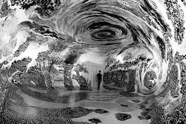 Immersive Installation Art Fills Dome with 360-Degree Landscape Drawing