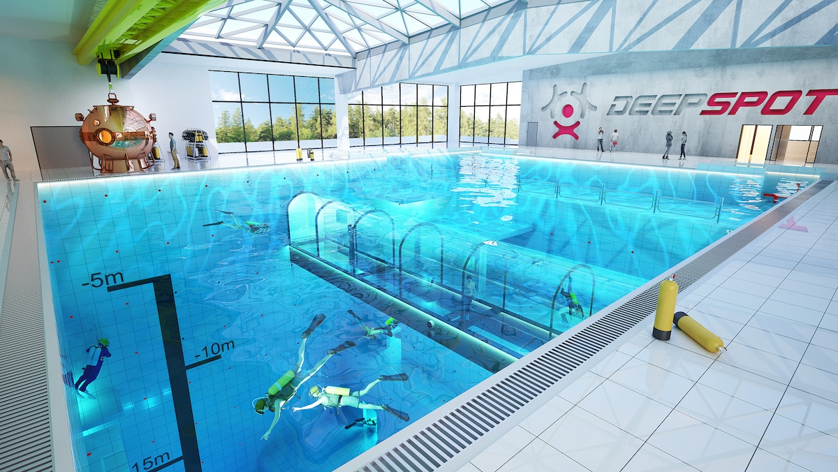 Intex Spa En Zwembad Deepspot, Located Near Warsaw, Is The World's Deepest Pool
