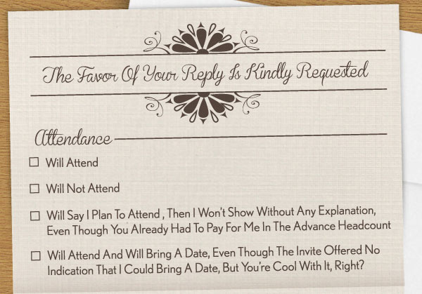 Amusingly Satrical RSVP Card Highlights the Different Types of