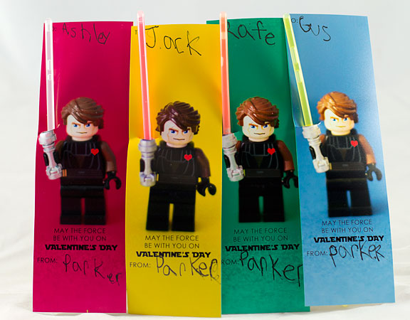 Star Wars LEGO Valentine with Glow Sticks