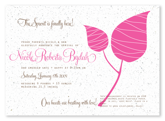 Sprout Birth Announcement Cards That Blossom Into Wildflowers