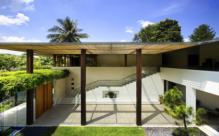 L Shaped Swimming Pool Architects Modernize Traditional Courtyard With Above