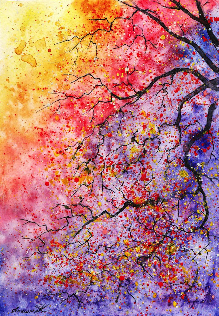 Colorful Watercolor Paintings of Radiant Trees in Nature