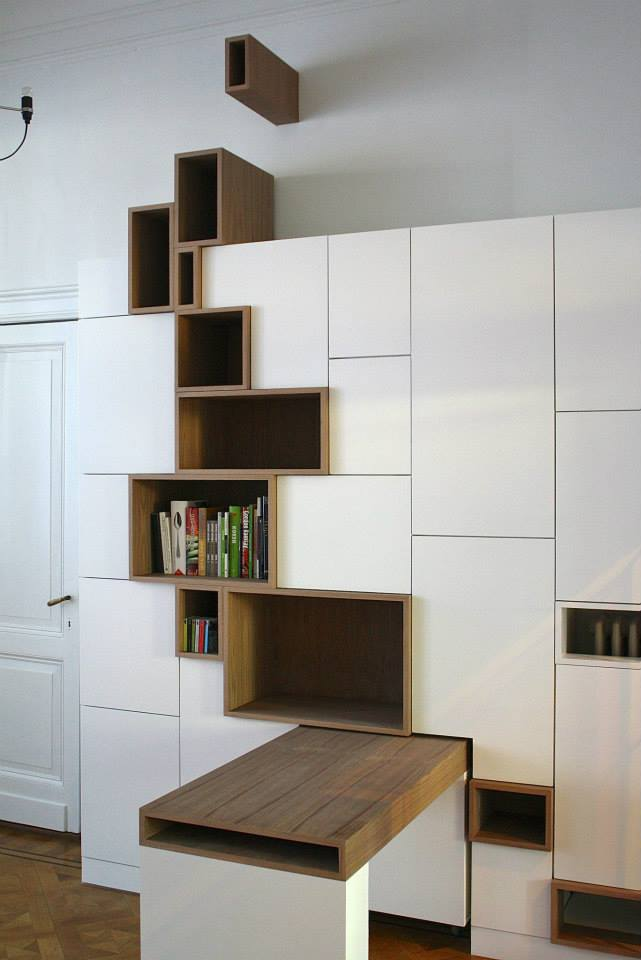 Meuble Tv De Coin Moderne Modern Storage Unit Features Stylized Shelving Mimicking A