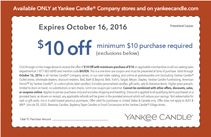 Yankee candle coupons code 10 off 25