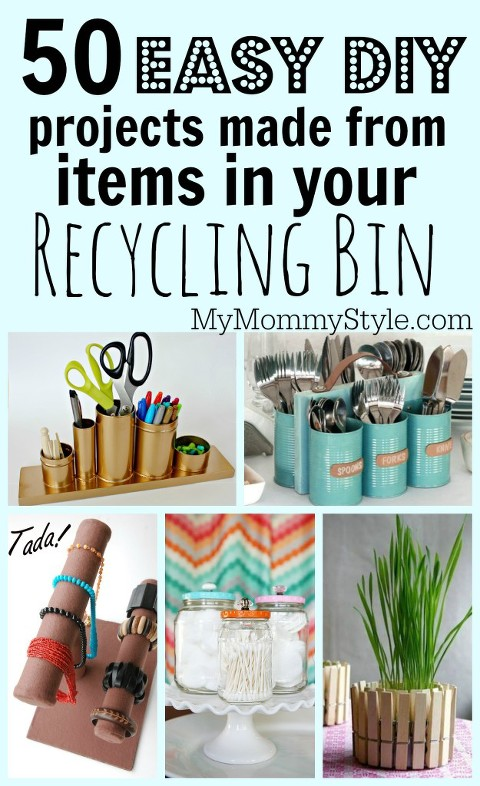 50 easy diy projects made from items in your recycling bin for Easy recycled materials projects