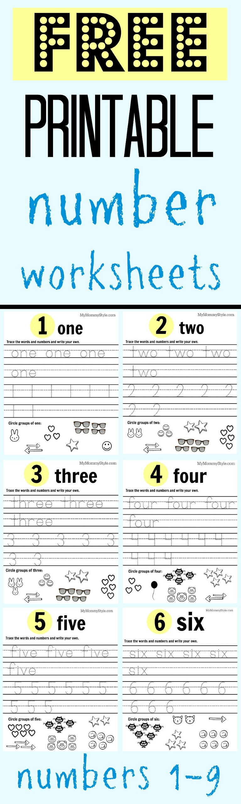 Free Printable Number Worksheets 19 My Mommy Style – Free Printable Number Worksheets