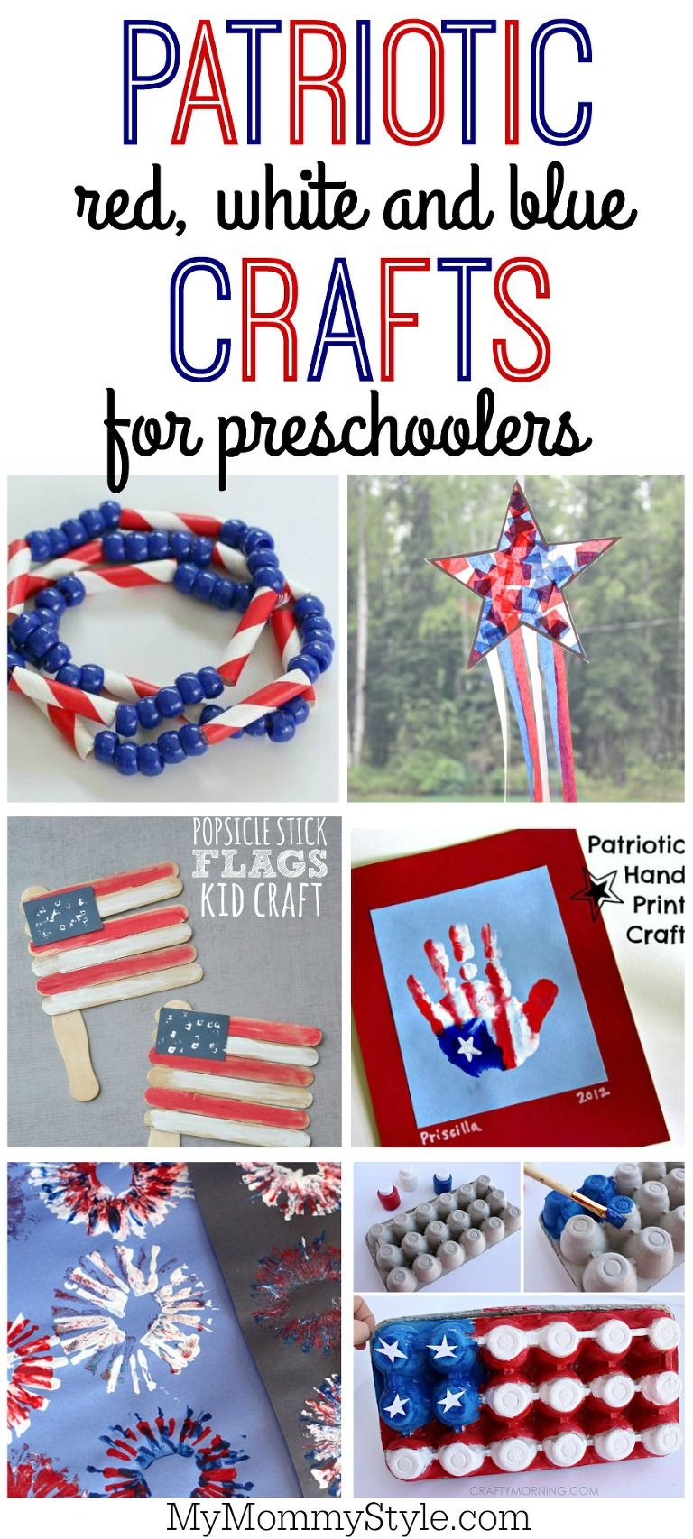 Patriotic red white and blue crafts for kids for 4th of july or Memorial day
