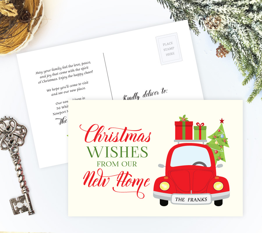 Moving Christmas cards Personalized Moving Cards - how to address christmas cards