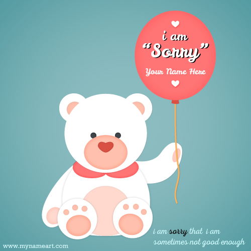 I Am Sorry Image With Teddy Bear wishes greeting card - apology card messages