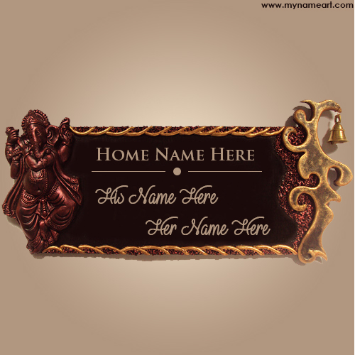 Write Couple Name On Designer Name Plate Wishes Greeting Card   Decorative Name  Plates For Home