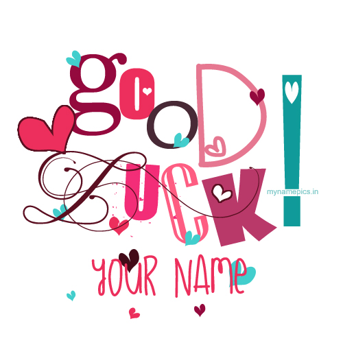 Write name on good luck and best of luck profile pic