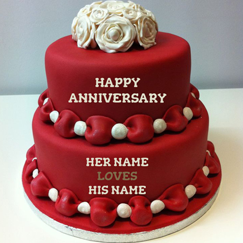 Write Name On Happy Anniversary Cakes Online Free Anniversary - anniversary card free