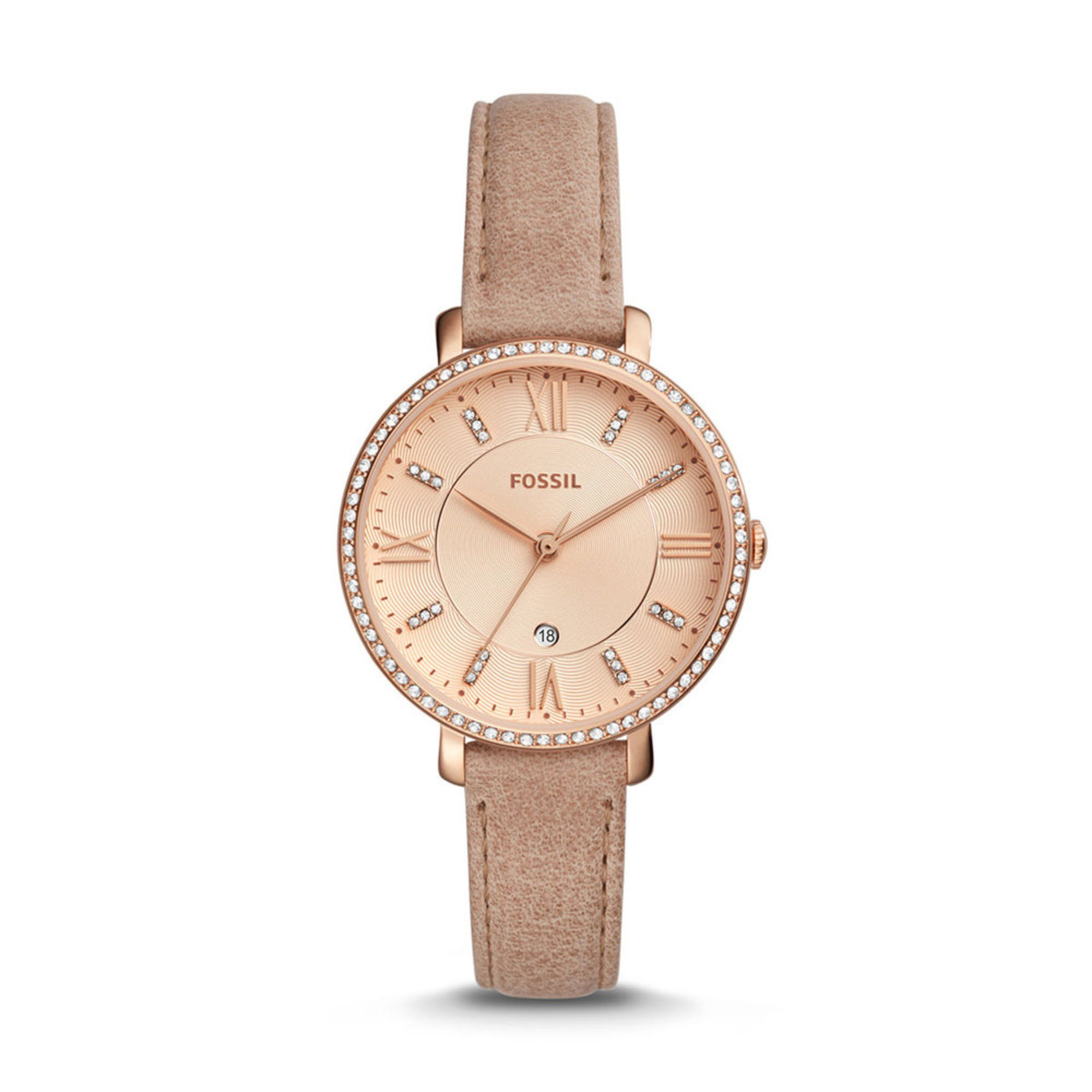 Leather Strap Rose Gold Watch Fossil Women S Jacqueline Rose Gold Tone Dial Sand Leather Strap Watch 36mm
