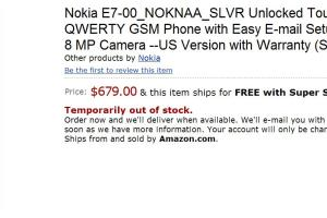Nokia E7 on Amazon.com for 679 USD