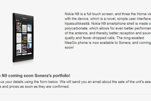 Nokia N9 coming soon? (Well, to Sonera's portfolio, whatever 'soon' means)