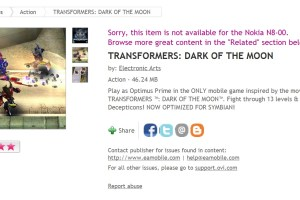 Transformers: Dark Of The Moon available at Ovi Store 'Now Optimized for Symbian'