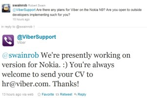 Viber in the works for Nokia (N9? Symbian? Qt?)