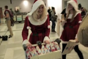 Santa giving Nokia gifts at Airport #Nokia Lumia 920