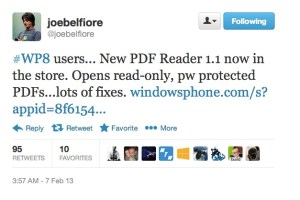 Lumiaappdates: PDF Reader 1.1 (WP8) gets new features and fixes.