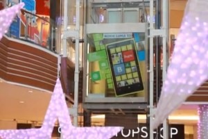 Shopping Centre gets 3D Nokia Lumia 920 hologram and Lumia decorated glass elevators