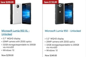 Lumia 950 XL for $299 and 950 for $249 at Microsoft Store