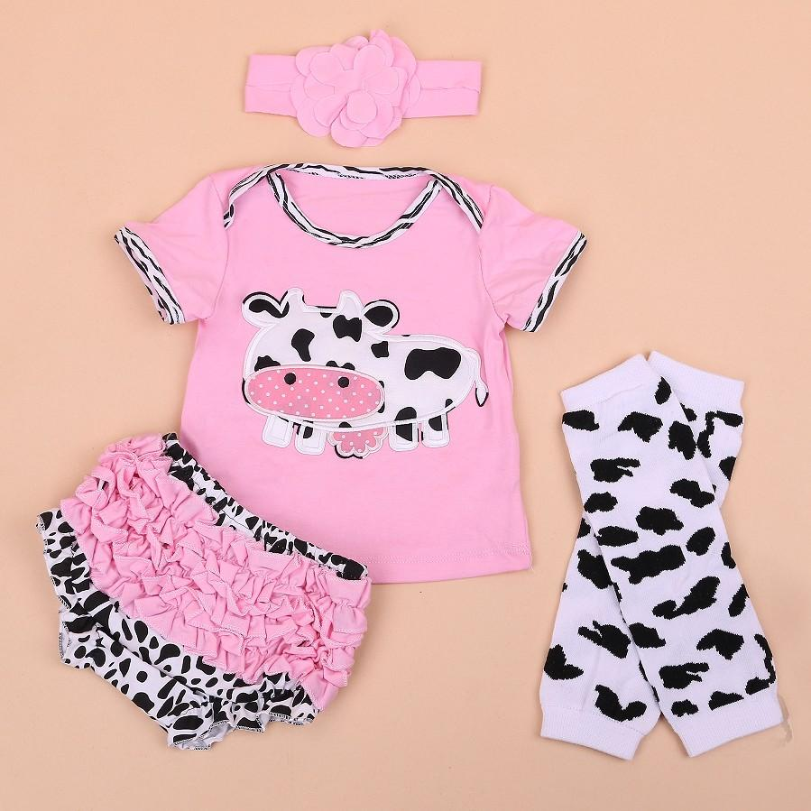 Applique Pink Cow Applique With Ruffle Diaper Pants Set