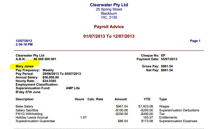 Payroll Pay Slip- Employee\u0027s name in emailed PDF - MYOB Community