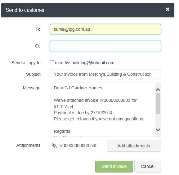 Cannot send sales invoices by email - MYOB Community - send an invoice