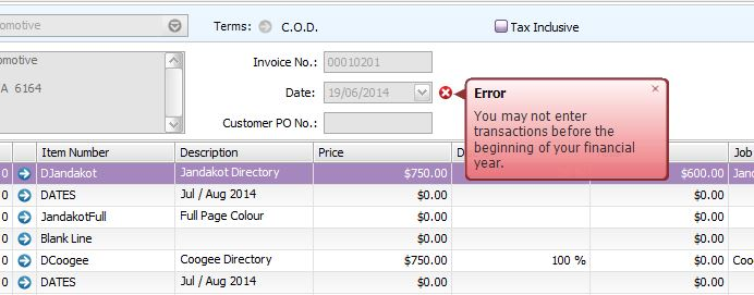 Solved I want to print an invoice from a previous financi - MYOB