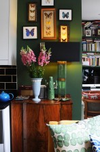 LOVE THIS GREEN! LOVE THIS GREEN KITCHEN - THE ART, AND THE FLOWERS! LAYERS AND TEXTURES