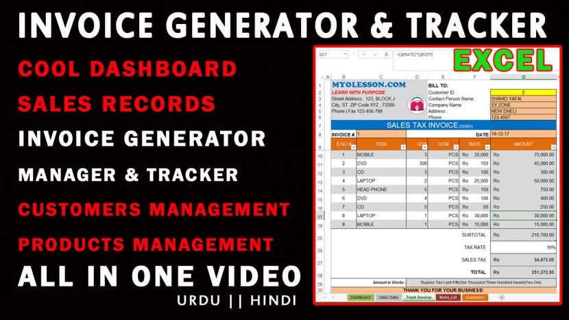 How to Create AUTOMATIC Invoice Generator and Tracker System in - automatic invoice generator