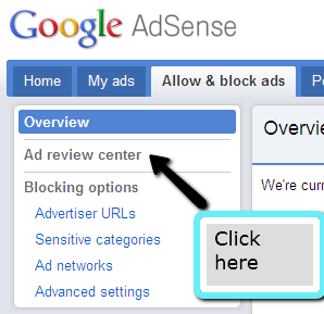 adsense ad review center