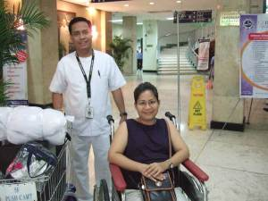 Carol checking out of Manila Doctor's Hospital