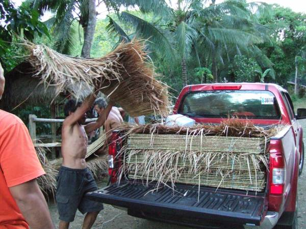 We stop to by nipa thatch on the way back to Iloilo City