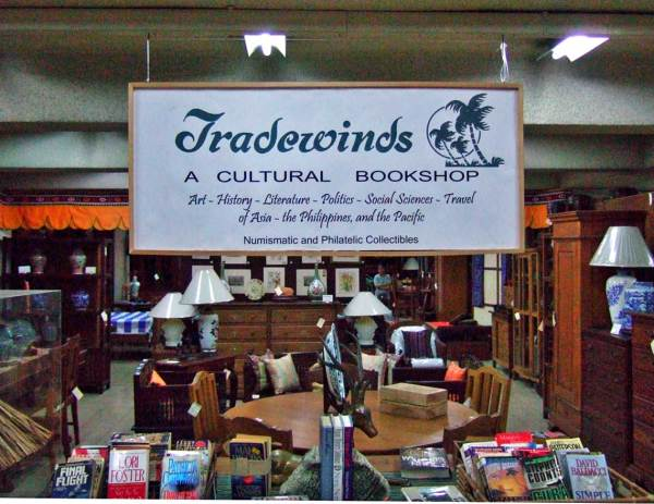 Browse for books among the antiques at Tradewinds Books