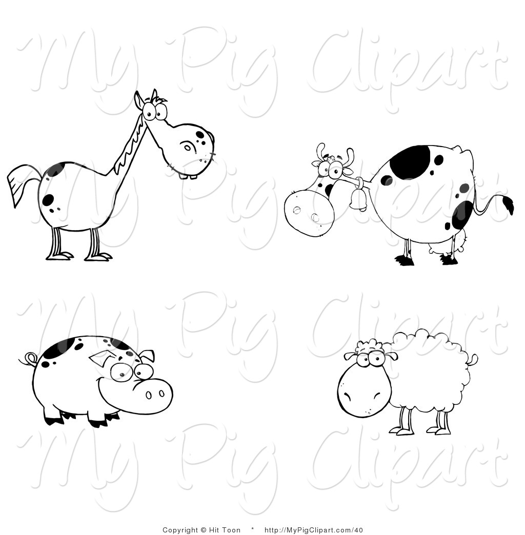 Barnyard Clipart Black And White Farm Animal Clip Art Black And White