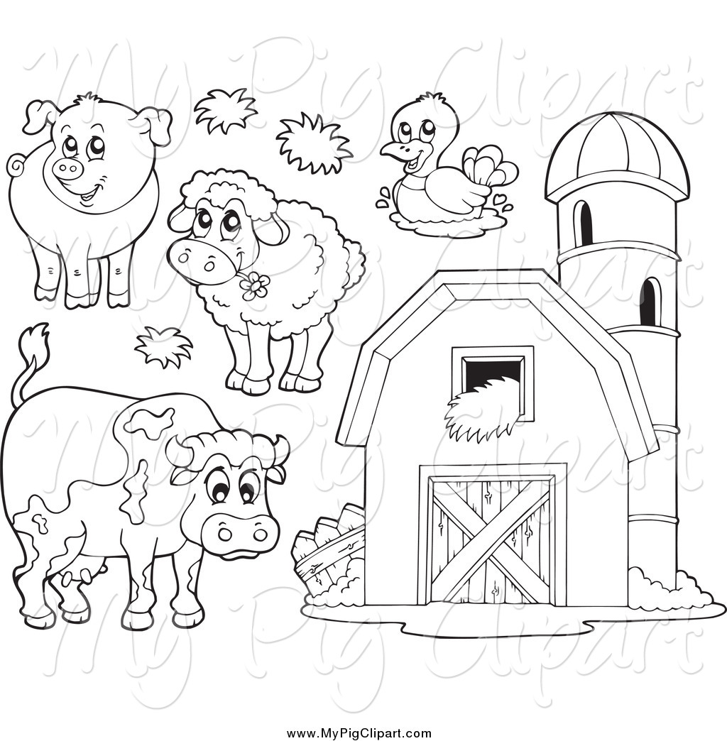 Barnyard Clipart Black And White Swine Clipart Of Black And White Farm Animals And A Barn