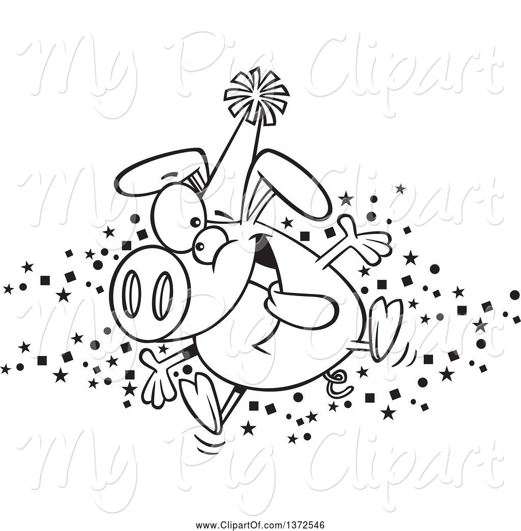 Party Hat Clipart Black And White Swine Clipart Of Cartoon Black And White Hyper Pig Wearing A Party