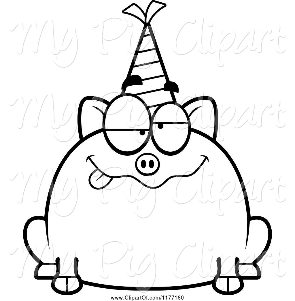 Party Hat Clipart Black And White Swine Clipart Of Cartoon Drunk Birthday Pig Wearing A Party Hat By