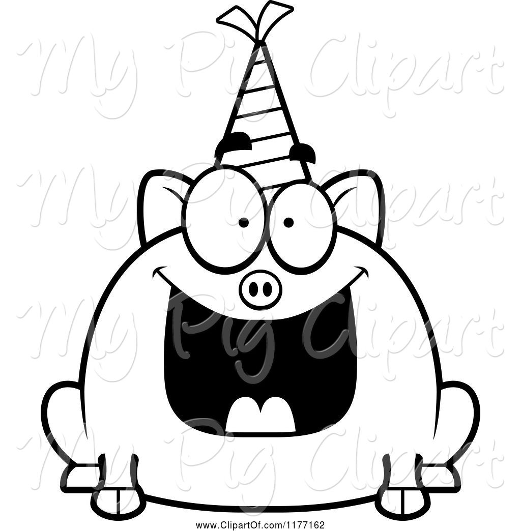 Party Hat Clipart Black And White Swine Clipart Of Happy Cartoon Birthday Pig Wearing A Party Hat By