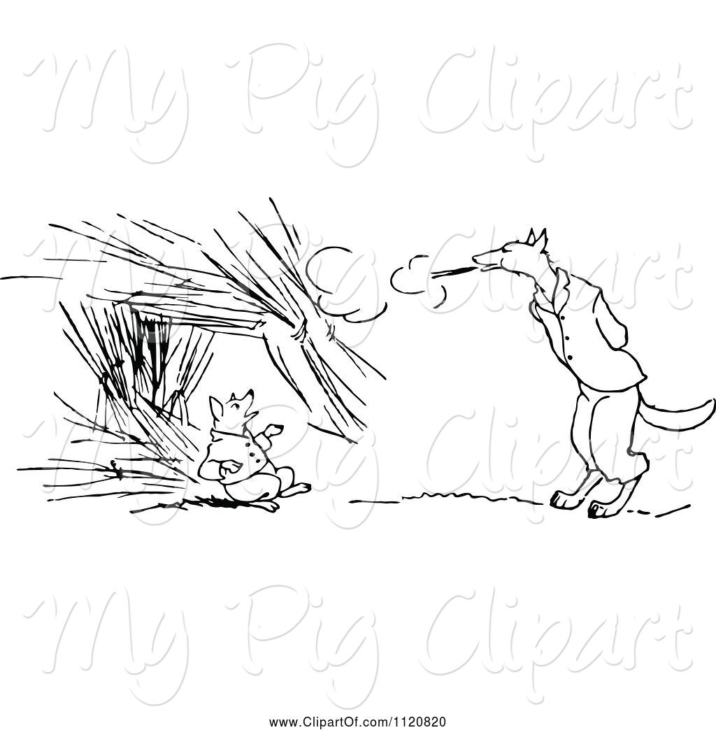 Vintage Bad Swine Clipart Of Retro Vintage Black And White Big Bad Wolf