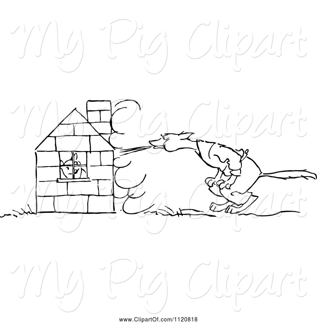 Vintage Bad Swine Clipart Of Retro Vintage Black And White Big Bad Wolf Trying