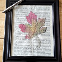 Fall Leaf Book Page Wall Art