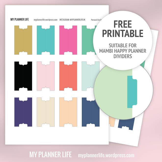 Free Printable \u2013 Divider Tabs \u2013 My Planner Life - folder dividers tabs