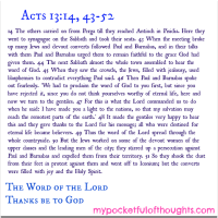 [Word of God] Acts 13:14, 43-52