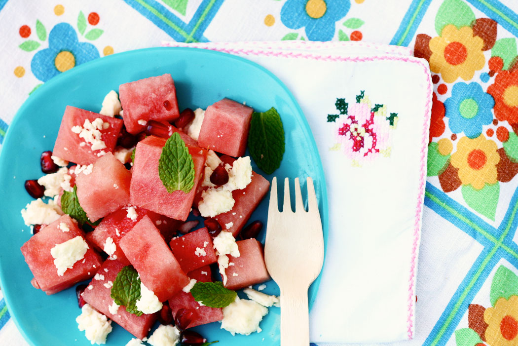 Watermelon, Feta & Pomegranate Summer Salad