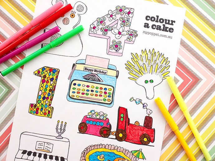 Colour a Cake – Free Printable Colouring Page